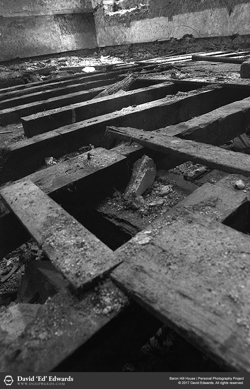 Wooden floorboards of an abandoned building
